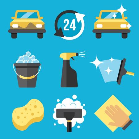 lavado: Vector conjunto de herramientas de lavado de coches Vectores