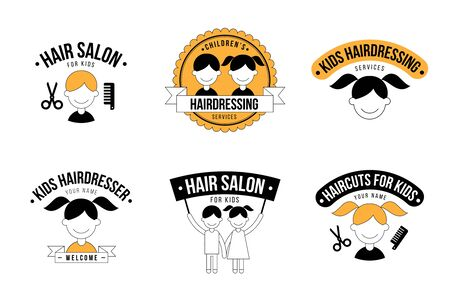 styling: Set of kids hair salon graphics
