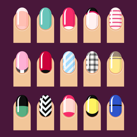 french manicure: Vector set of trendy nail designs. Illustration