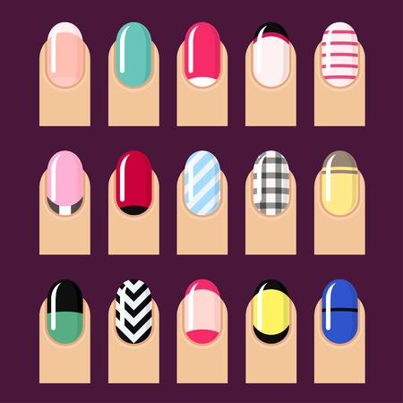 nail: Vector set of trendy nail designs. Illustration