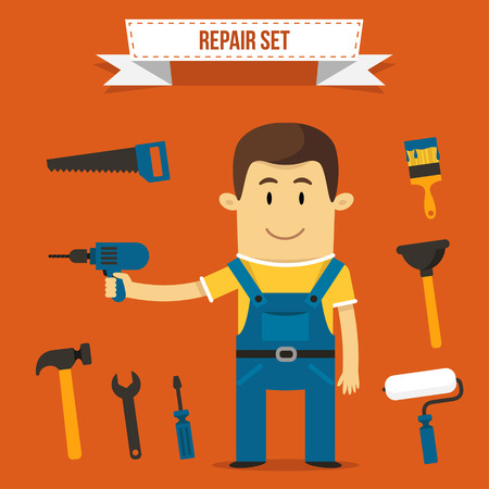 refit: Vector repairman with set of tools icons. Each object can be placed in his hand. Illustration