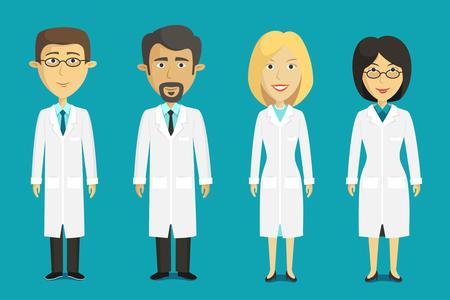 caricatura enfermera: Vector conjunto de caracteres científicos.