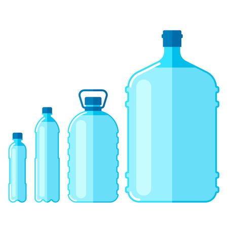 Vector conjunto de botellas de plástico con agua, aislado sobre fondo blanco. Ilustración de vector