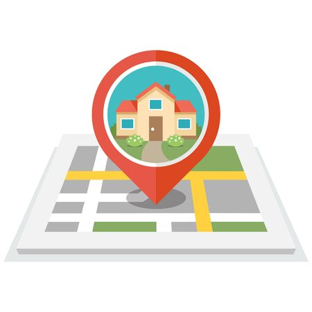 residential home: Vector illustration of map with pin and house in it. Flat design style. Isolated on white background. Eps 10. Illustration