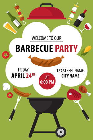 Colorful barbecue party invitation. Vector illustration. Çizim