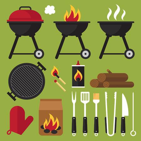 Vector set van barbecue gereedschappen. Stock Illustratie