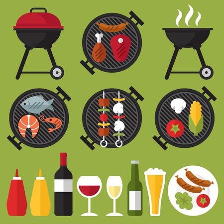 chorizos asados: Vector conjunto de parrilla de barbacoa y alimentos: carne, salchichas, pollo, mariscos y verduras. Vectores