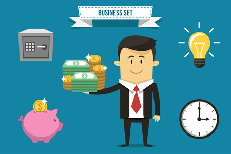 Vector businessman with set of icons. Each object can be placed in his hand.