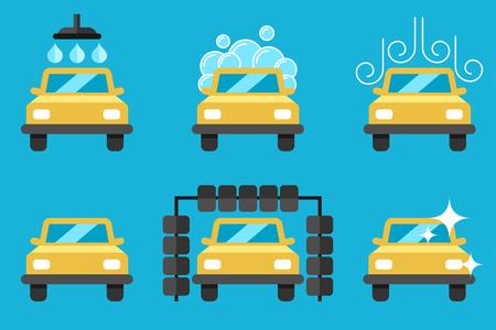 Vector set of car washing process illustrations