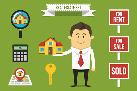 realtor: Vector realtor with set of real estate icons. Each object can be placed in his hand.