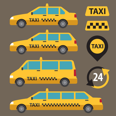 Vector set of different types of taxi cars and taxi signs.