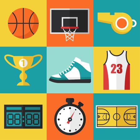 balones deportivos: Vector conjunto de iconos de baloncesto de estilo de dise�o plano.