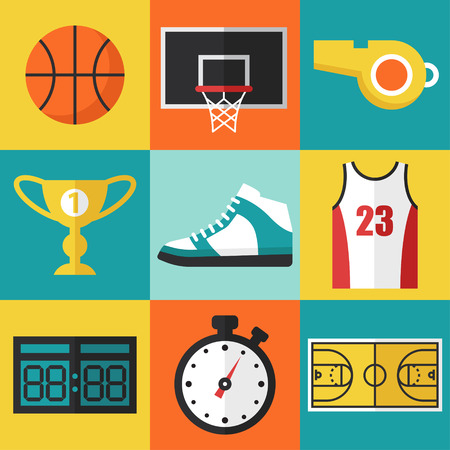 sports: Vector set of basketball icons in flat design style.
