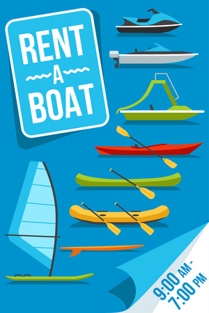 Colorful vector poster for boat rent service with different boats types on it. Flat style.