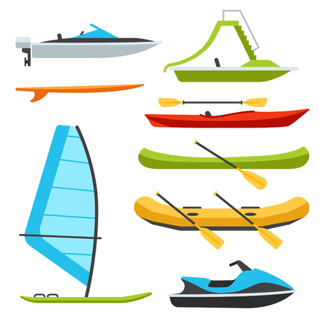 Vector types of boats, water scooter, catamaran, surf and windsurf. Isolated on white background. Flat design style. Illustration