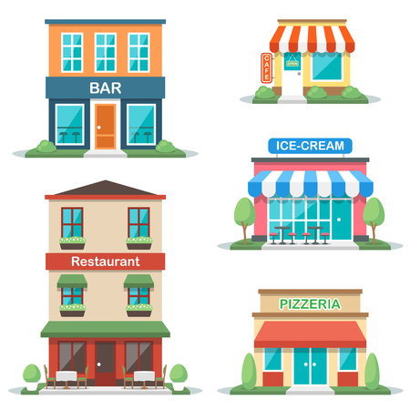 Vector illustration of different types of cafe buildings: bar, restaurant, cafe, gelateria, pizzeria. Isolated on white background. Flat design style. Eps 10.