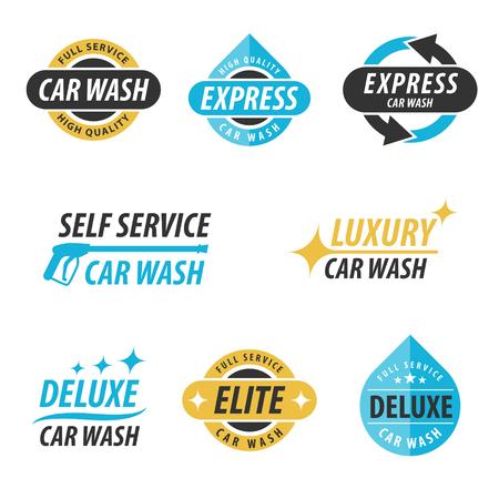 autolavaggio: Vector set di auto logotipi di lavaggio: per espresso, servizio completo, self service, lusso, elite e deluxe autolavaggio.