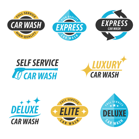 Vector set van wasstraat logotypes: voor express, full service, self service, luxe, elite en luxe auto wassen. Stock Illustratie