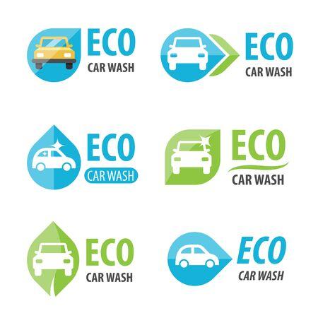 green water: Vector set of eco car wash Illustration