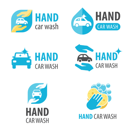 Vector set of hand car wash