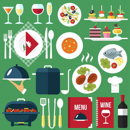 Vector catering restaurant service food and drinks. Flat style.
