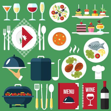 sopa de pollo: Vector de comida restaurante de comida servicio y bebidas. estilo plano.