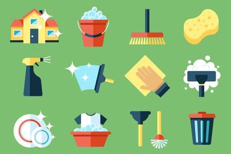 servicio domestico: Vector conjunto de herramientas de limpieza. estilo de diseño plano.