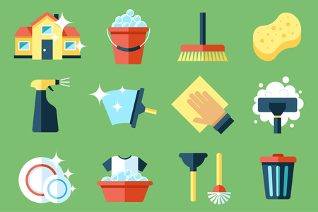 Vector set of cleaning tools. Flat design style. Çizim
