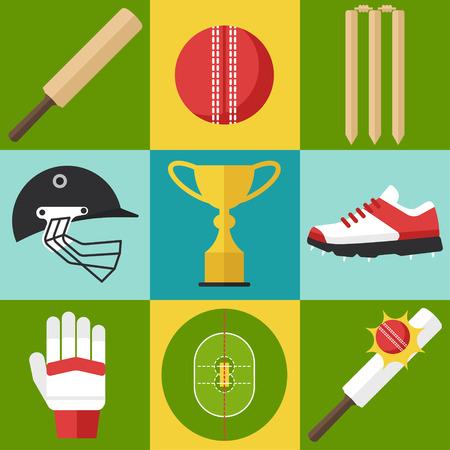 bate: Vector conjunto de iconos de cricket en el estilo de diseño plano.