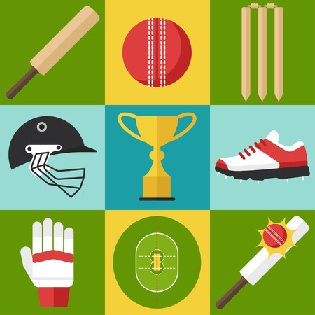 Vector set of cricket icons in flat design style.