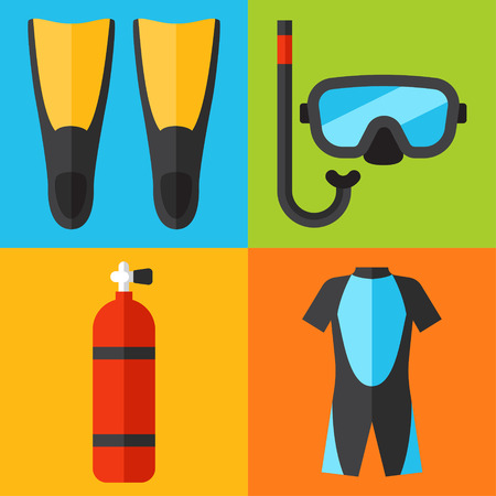 flipper: Vector set of diving icons. Flat design style. Illustration