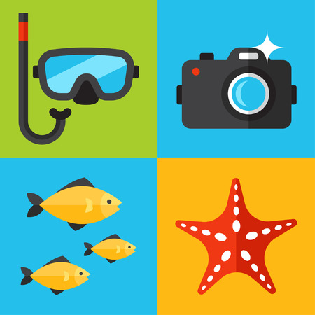 Vector set of underwater photography icons. Flat design style. Ilustrace