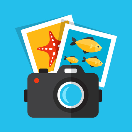 Vector illustration of underwater photography. Flat design style. Eps 10.