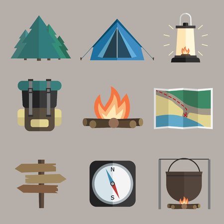 Vector set of hiking icons. Flat design style. Ilustrace