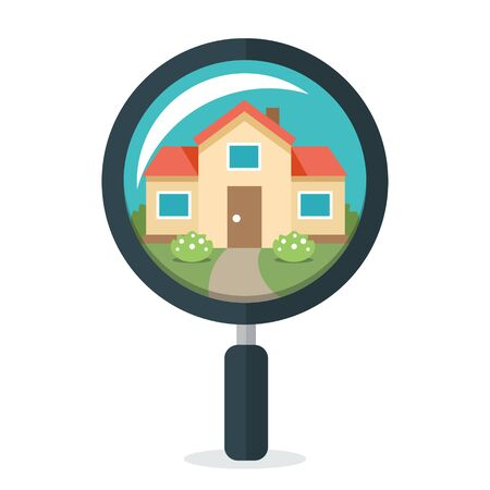 Vector illustration of magnifying glass with house inside. Flat design style. Isolated on white background. Vettoriali