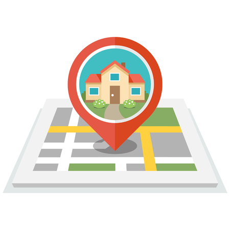 home search: Vector illustration of map with pin and house in it. Flat design style. Isolated on white background.