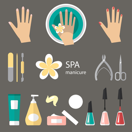 finger nails: Vector set of manicure tools, cosmetics, nail polish, hands and spa manicure