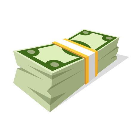 Vector illustration of money stack. Cartoon style. Isolated on white background.