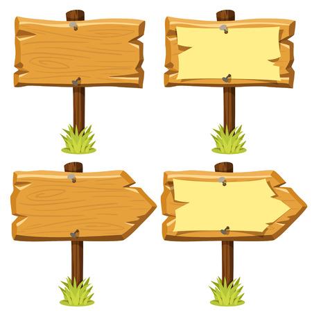 letrero: Ilustración vectorial de viejos letreros de madera con y sin papel clavado en ellos y hierba. estilo de dibujos animados. Aislado en blanco. Eps 10.