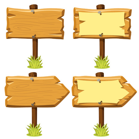 Vector illustration of old wooden signboards with and without nailed paper on them and grass. Cartoon style. Isolated on white. Eps 10. Ilustrace