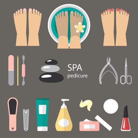 Vector set of pedicure tools, feet, cosmetics, nail polish, and spa pedicure