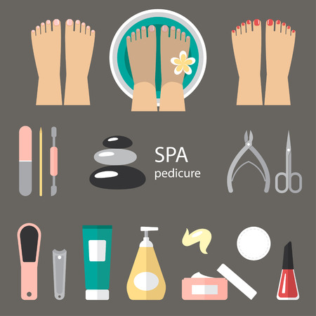foot spa: Vector set of pedicure tools, feet, cosmetics, nail polish, and spa pedicure