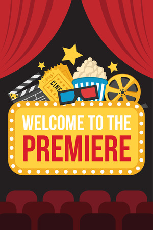 Colorful vector poster of movie premiere with cinema curtains, seats, welcome sign, cine, popcorn, 3d glasses, tickets and slate on dark background. Flat style.