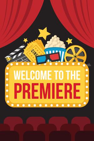 cortinas: Vector del cartel colorido del estreno de la película de cine con cortinas, asientos, signo positivo, cine, palomitas de maíz, gafas 3D, entradas y pizarra en el fondo oscuro. estilo plano.