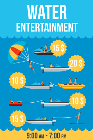 price list: Colorful vector price list template of water entertainment services. Water parachute, banana, donut, ski and scooter with people. Flat style. Illustration