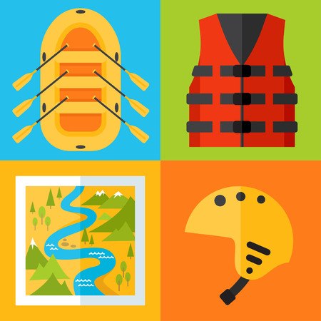 Vector set of rafting icons. Flat design style. Ilustrace