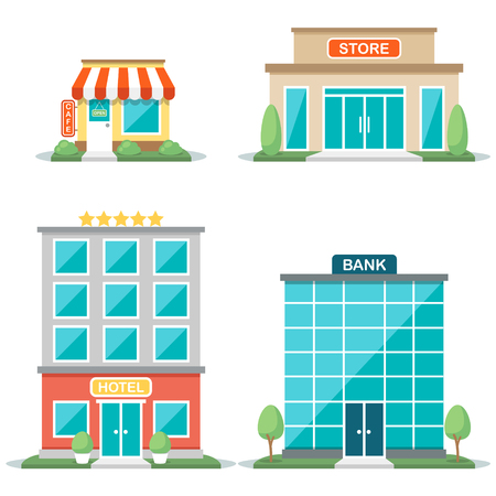 Vector illustration of different types of buildings: cafe, store, hotel, bank. Isolated on white background. Flat design style. Eps 10. Ilustrace