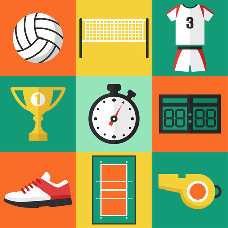 Vector set of volleyball icons, flat design style.
