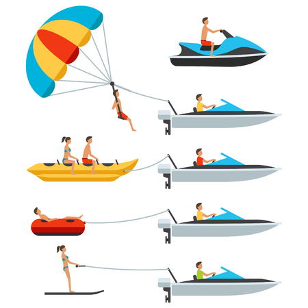Vector water activity items with people: water scooter, banana, donut, ski, parachute, motor boat. Isolated on white background. Flat design style. Vettoriali