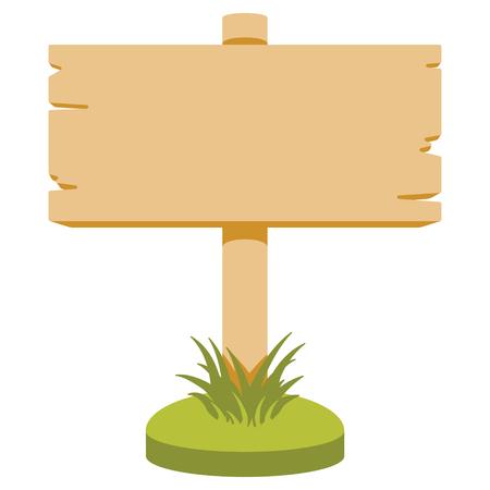 letrero: Ilustración del vector de señal de madera. estilo de dibujos animados. Aislado en blanco. Vectores